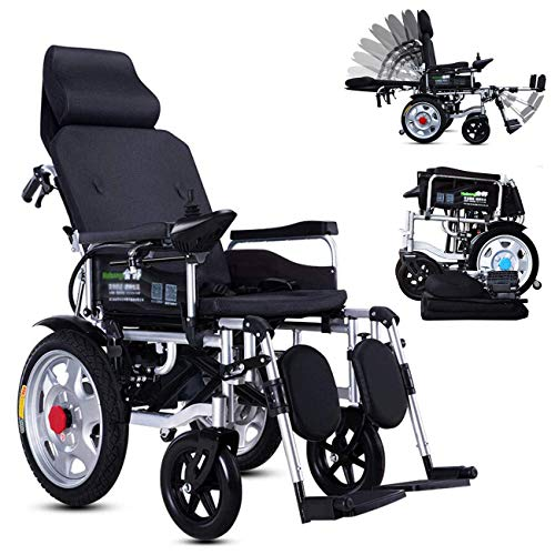 RZBB Foldable Electric Power Wheelchair Chair,Lightweight Electric Wheelchair Portable Medical Scooter,Supports 265 Lb,with Pedals and Seats (Right Hand Controller) Automatic Intelligent Wheelchair