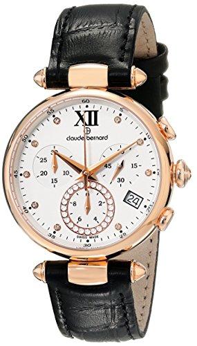 Claude Bernard MFG Women's 35mm Black Calfskin Band Steel Case Swiss Quartz Watch 10215 37R APR1