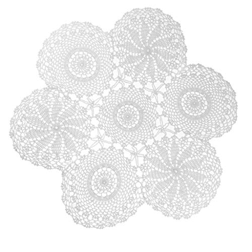 Baoblaze Handarbeit Weiß Crochet Deckchen Hohl Tischdecke rund Baumwolle Spitze Tisch Tischsets mit Blumen Muster