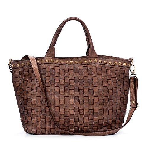 Ira del Valle, Borsa Donna, In Vera Pelle, Vintage, Borsa tracolla donna, Modello Las Vegas Bag, Made In Italy Fango notte