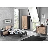Jugendzimmer Set Korpus massiv schwarz, Birke massiv natur lackiert, 90x200 cm Jugendbett, Nachttisch, 100cm Kleiderschrank 2-trg und Kommode