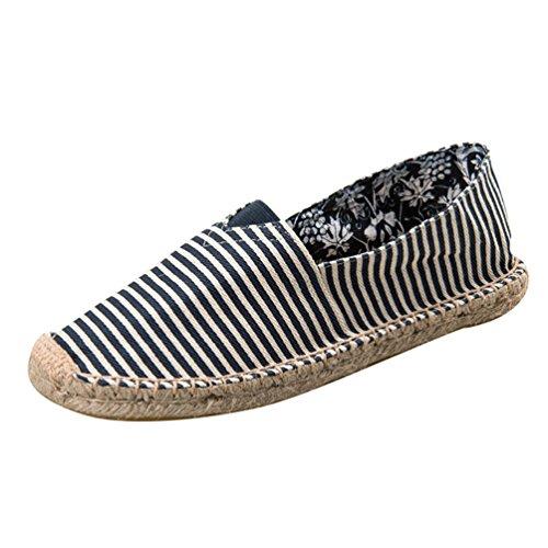 YOUJIA Rayé Espadrilles Mixte Adulte Plat Slip-on Chaussures d'été (#1 Bleu, EU 38)