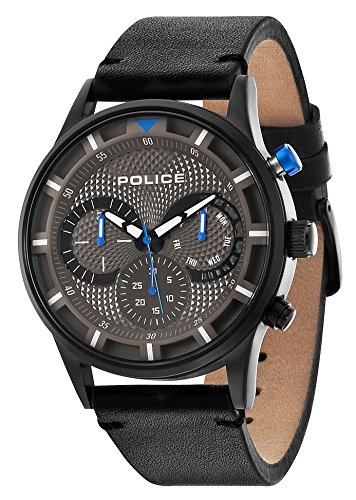 Police Men's Quartz Watch with Grey Dial Chronograph Display and Black Leather Strap 14383JSB/61