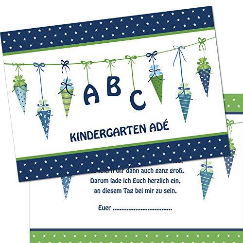 Kreatives Herz - ABC Einladungskarten zur Einschulung (10er Set - A6) für Jungen Einladungen Schulanfang Kinder Party 1. Schultag Schultüte Zuckertüte grün blau (10 Karten)