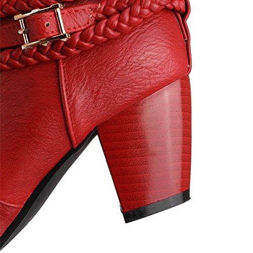 VogueZone009 Donna Luccichio Media Altezza Puro Tirare Tacco Medio Stivali Rosso