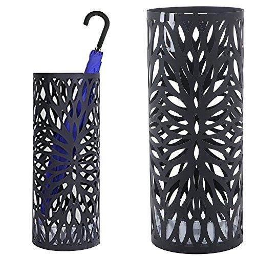 Bakaji portaombrelli stand in ferro design bak7b porta ombrelli forma rotonda colore nero con decorazione intarsio a petalo vaschetta salvagoccia e ganci per ombrelli pieghevoli dimensioni 49 x 19,5 cm