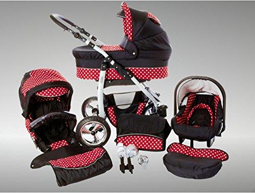 Chilly Kids Dino Kinderwagen Sommer-Set (Sonnenschirm, Autositz & Adapter, Regenschutz, Moskitonetz, Getränkehalter, Schwenkräder) 34 Schwarz & Rot & Punkte