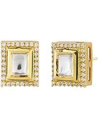 KMD Golden & Green Kundan Studded Copper Stud Earrings