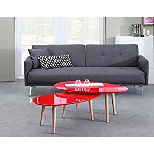 GALET Table basse 88 cm rouge