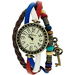 Medley Beige Dial Union Jack Twist Leather & Cord Beads Watch Pull Closure MED05
