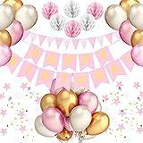 PushingBest Geburtstagsdeko, Party Deko Set Rosa Alles Gute zum Geburtstag Girlande Ballons Wabenbälle Dreieck Flag String Runde String für Mädchen Jungen Männer Frauen