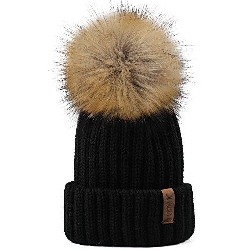 YANIBEST Strickmütze Pelzmütze Waschbär Pelz Pom Pom Beanie Hüte Winter Damen Mädchen Echt Große in weiß schwarz rose beige (Echte Pelz-pom-pom)