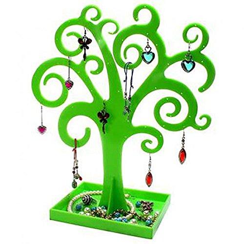 Présentoirs pour bijoux - espositore per gioielli a forma di albero, per orecchini, collane, braccialetti e anelli, colore: verde, cod. 006134