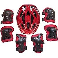 LoKauf Juego infantil 7ST. Equipo de Protección Set Rodilleras Coderas Casco para 5–13Años, color rojo, tamaño 27 * 21cm