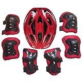 Set de Protection Fille, Vicoki Casque de Scooter Vélo Hoverboard Skateboard Roller Trotinette pour Enfants 5-13 Ans, Poignet + Coudières + Genouillères