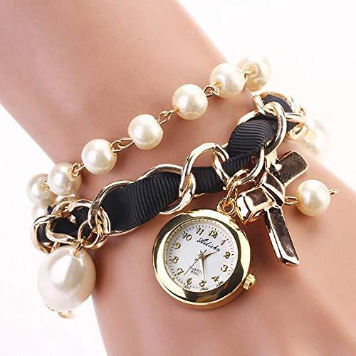 Hängende Bogen (ANLW Frauen-Perlen-Uhr-Hängende Bogen-Armband-Uhr-Quarz-Armbanduhren,A3)