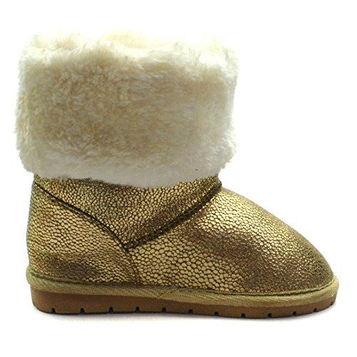 SB121 Studio BIMBI Pull On Baby Boots Mid Calf for Girls >      > Pull mi Sur bottes de bébé pour les filles Gold (or)