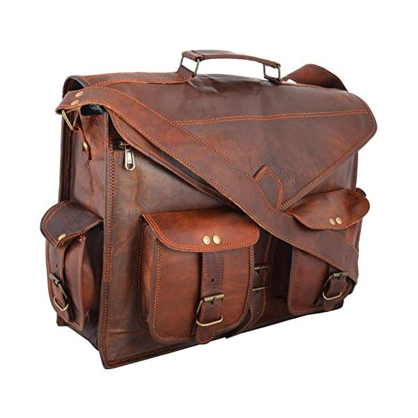 Handmade Genuine Leather Messenger Laptop Bag Briefcase, Rustic Durable Hand-Crafted by Women Artisans Leather Bag 51uRfgttNUL