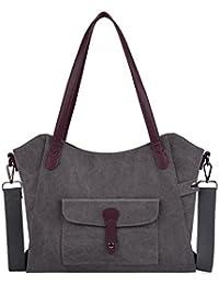 COOFIT Men's Canvas Handbag Top Handle Tote Bag Cross Body Shoulder Handbags