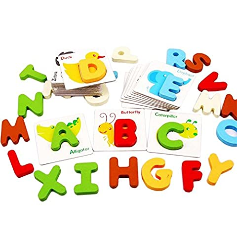 PANNIUZHE 3D Wooden Letters Toys, Animal Cards Puzzle Wooden Alphabet Learning Toy for 1 year old+, Best Gifts for