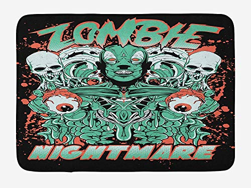 VTXWL Zombie Bath Mat, Retro Style Nightmare with Skulls Ghost Characters Wild Illustration, Plush Bathroom Decor Mat with Non Slip Backing, 23.6 W X 15.7 W Inches, Jade Green Salmon Black