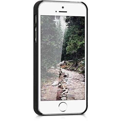 kwmobile coque de téléphone en bois pour Apple iPhone SE / 5 / 5S case - smartphone étui de protection en bois en noyer brun foncé Sugar Skull crâne de sucre brun foncé