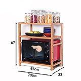 Kitchen shelf. CGN Mikrowelle Rack, Multifunktions Einfach Sparen Platz Würze Lagerregal Küchenregale Benötigen Nicht Zu Schlagen Bambus Holz Farbe Mehrschichtige (Farbe : #2, Größe : 70cm)