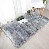 YIHAIC Faux Lammfell Schaffell Teppich, Modern Wohnzimmer Teppich Flauschig Lange Haare Fell Optik Gemütliches Schaffell Bettvorleger Sofa Matte (Grau, 75 x 120 cm)