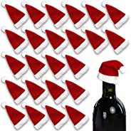HANSGO Mini Santa Hat Cup Bottles Cover, 24PCS Christmas Santa Hats Silverware Holders Xmas Silverware Holder