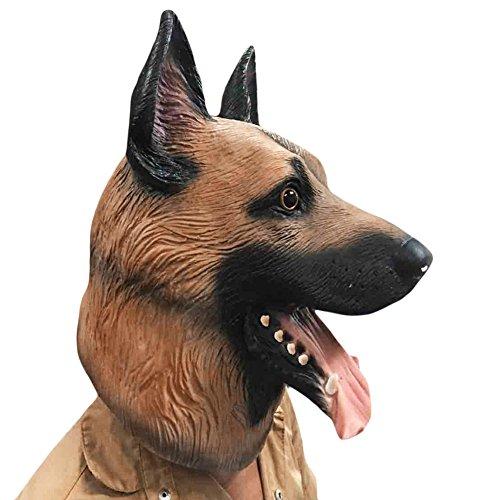 Skitic Maschera cane Maschere di animali lattice costume di Halloween Partito Natale Vestire Testa di Horror Pastore tedesco