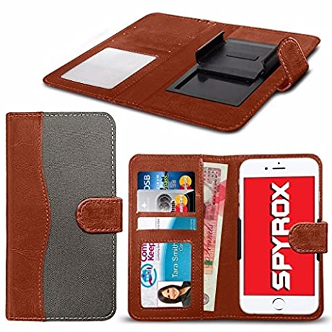 Spyrox - Siswoo R8 Monster (5.5 inch) Matériel de haute qualité tissu Clamp Wallet Case in Brown and Grey