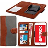 Spyrox - Uhans U100 (4.7 inch) Hochwertige Stoff Material Klemme Wallet Case in Brown and Grey