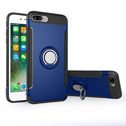 UKDANDANWEI Apple iPhone 8 Plus Hülle mit 360 Grad Full Body Ring Ständer, Hybrid Dual Layer Defender Handyhülle Case [Shock Proof] für Apple iPhone 8 Plus - Blau Blau