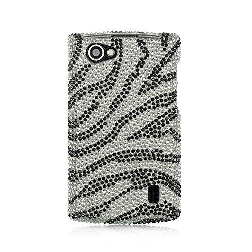 LG Optimus M+ Schutzhülle, Dreamwireless Zebra Strass Diamant Bling Hard Snap-in Case Cover für LG Optimus M+ MS695, Silber/Schwarz Zebra Hard Snap