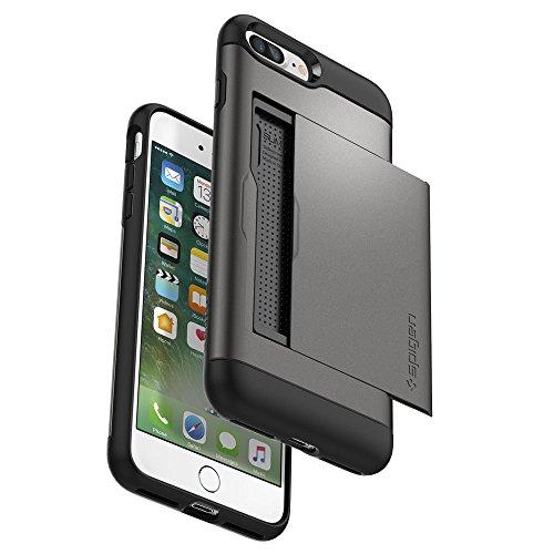 iPhone 8 PLUS / 7 PLUS Hülle, Spigen® [Slim Armor CS] iPhone 8 PLUS Hülle, Kartenfach [Gunmetal] Doppelte Schutzschicht mit Luftpolster-Kantenschutz - Card Holder Case Schutzhülle für Apple iPhone 7 P SACS Gunmetal