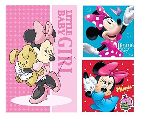 DisneyMinnieMouse - Kinder Handtuch Set (3er Pack) Minnie Maus: 1 x Gesichtstuch, 2 x Handtuch/Waschlappen - tolle Geschenkidee zum Geburtstag oder zu Weihnachten 100% Baumwolle