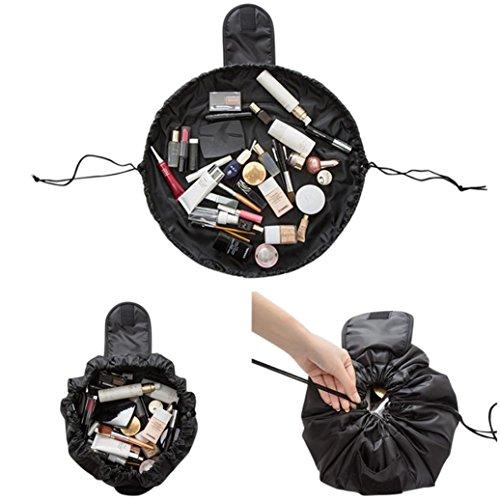 Trousses à maquillage Sansee Portable Beauté Cordon De Serrage Voyage Maquillage Organisateur Stockage Bijoux Cosmétiques Sac Cosmétique (Noir)