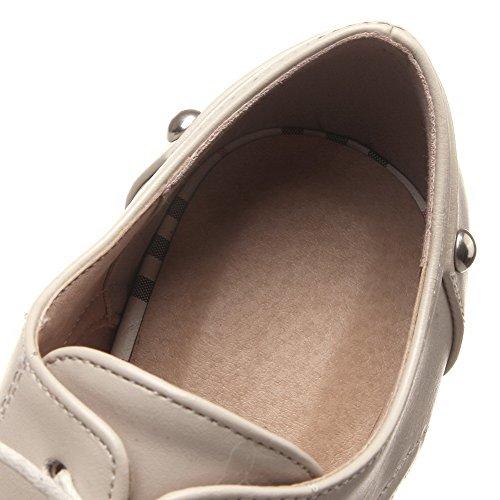 AllhqFashion Femme à Talon Correct Tire Matière Mélangee Pointu Chaussures Légeres Beige