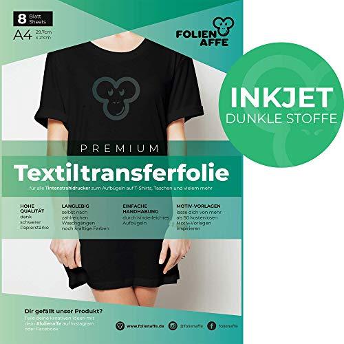 Inkjet Premium A4 T-Shirt Transferfolie für DUNKLE Textilien/Stoffe zum Aufbügeln - inkl. 50+ GRATIS Motiv-Vorlagen - Transferpapier geeignet für alle Inkjet Tintenstrahldrucker
