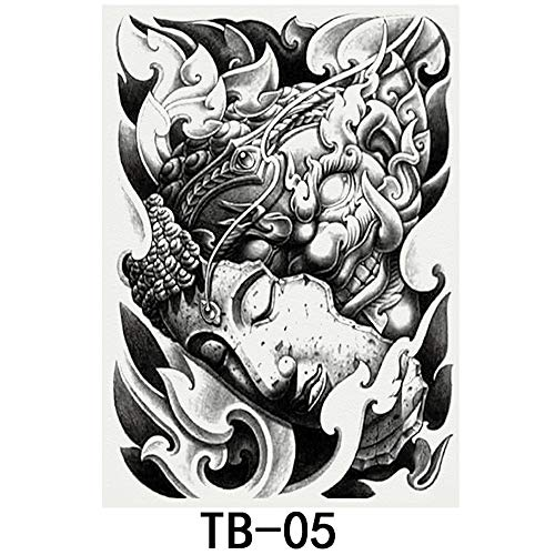 tzxdbh 2Pcs-New großes Bild voller Rücken Tattoo Aufkleber Einweg wasserdicht Simulation Tattoo Aufkleber Charakter Tier 2Pcs-8