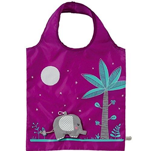 Borsa per la spesa, ecologica, colore: viola, motivo: elefante