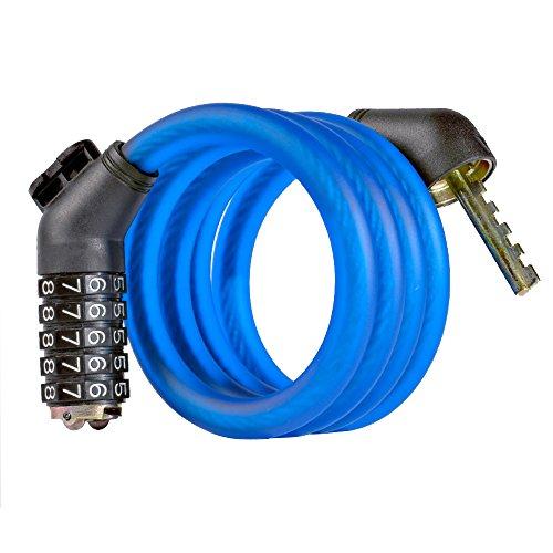 West Radfahren Bike Lock Kabel, druckknopfstiel Bike Kabel selbst mit rücksetzbaren Kombination Kabel Bike Locks mit Befestigung Portrait 6Füße X 1/2, blau (Radfahren Versorgt)