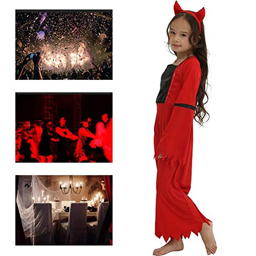 Damen Kostüm Rote Teufel - JH&MM Halloween Mädchen Kostüm Kinder Red Devil Set Cosplay Party Game Masquerade Show,S