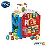VTech- Alfacubo sorpresas Maxi Cubo de Actividades Que Contiene Engranajes y Bloques de construcción, más de 30 Canciones, Frases y melodías Que enseñan Formas, Letras, Colores y música (3480-135422)