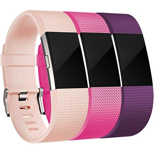 HUMENN Für Fitbit Charge 2 Armband, Charge 2 Armband Weiches Silikon Sports Ersetzerband Fitness Verstellbares Uhrenarmband für Fitbit Charge2 Large Blushpink+Rosa+Pflaume