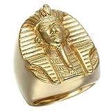 WUTOLUOHANS Anillos de oro con patrón de faraón egipcio Anillos de acero de titanio for hombre (Color : D, tamaño : Us10#)