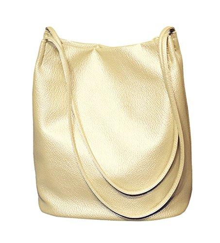 Eimer Tasche Damen Handtasche Leder Schultertasche Umhängetaschen Beutel,Gold