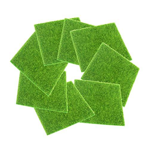 FineInno 8 Fogli Erba Sintetica Artificial Grass Moss Prato Finto Tappeto Erba Artificiale Fake Lawn Carpet Turf Mat Decorazione per Interni,Esterni, Balcone,Giardino 6x6 inch (15x15 cm) (6inch/15cm,8pcs)