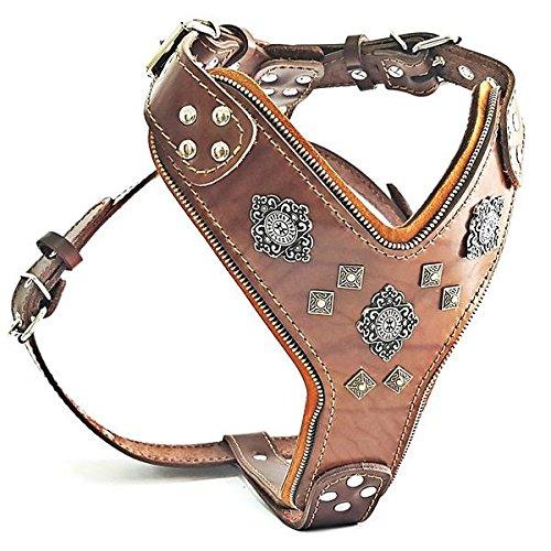 Bestia |Aztec| Leder Brustgeschirr für große Hunde. Bis 145 cm Brustumfang. 100{580c7a7495988bd1bae0836e5e25efbc6812dc116bf121e13509237e17146087} Leder. Handgefertigt. Top Qualität
