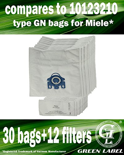 Kit des Sacs aspirateur: 30 sacs + 12 filtres pour les aspirateurs Miele (alternative à GN HyClean 3D)